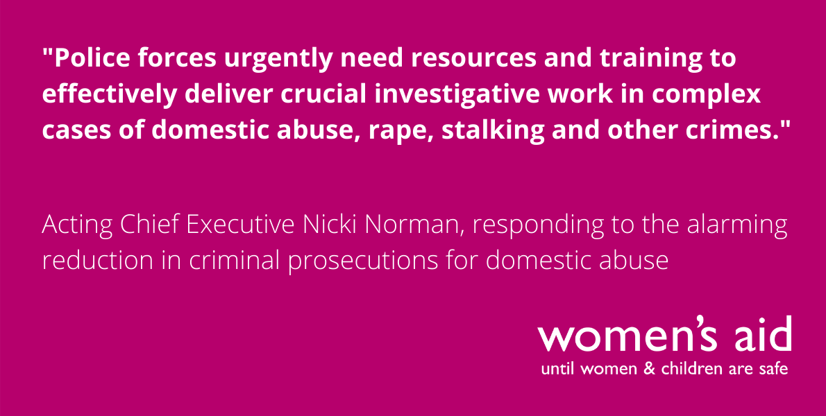 Women's Aid responds to alarming reduction in criminal prosecutions for domestic abuse