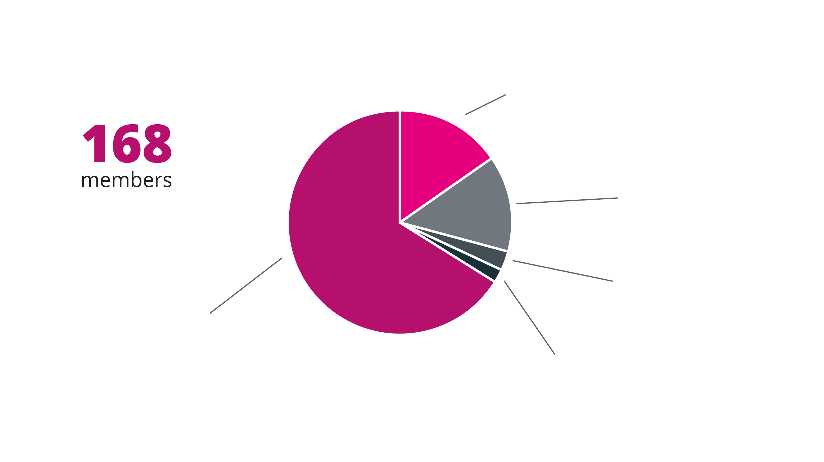 Graph showing the make up of our members